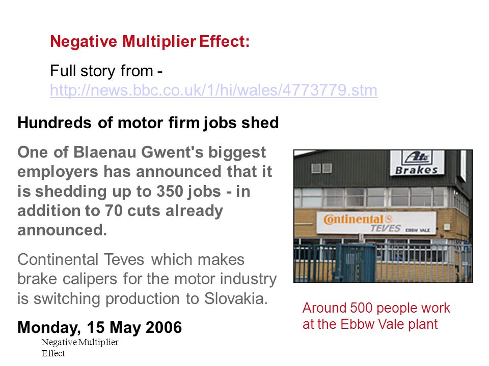 Negative Multiplier Effect Negative Multiplier Effect: Full story from - http://news.bbc.co.uk/1/hi/wales/4773779.stm http://news.bbc.co.uk/1/hi/wales/4773779.stm Hundreds of motor firm jobs shed One of Blaenau Gwent s biggest employers has announced that it is shedding up to 350 jobs - in addition to 70 cuts already announced.