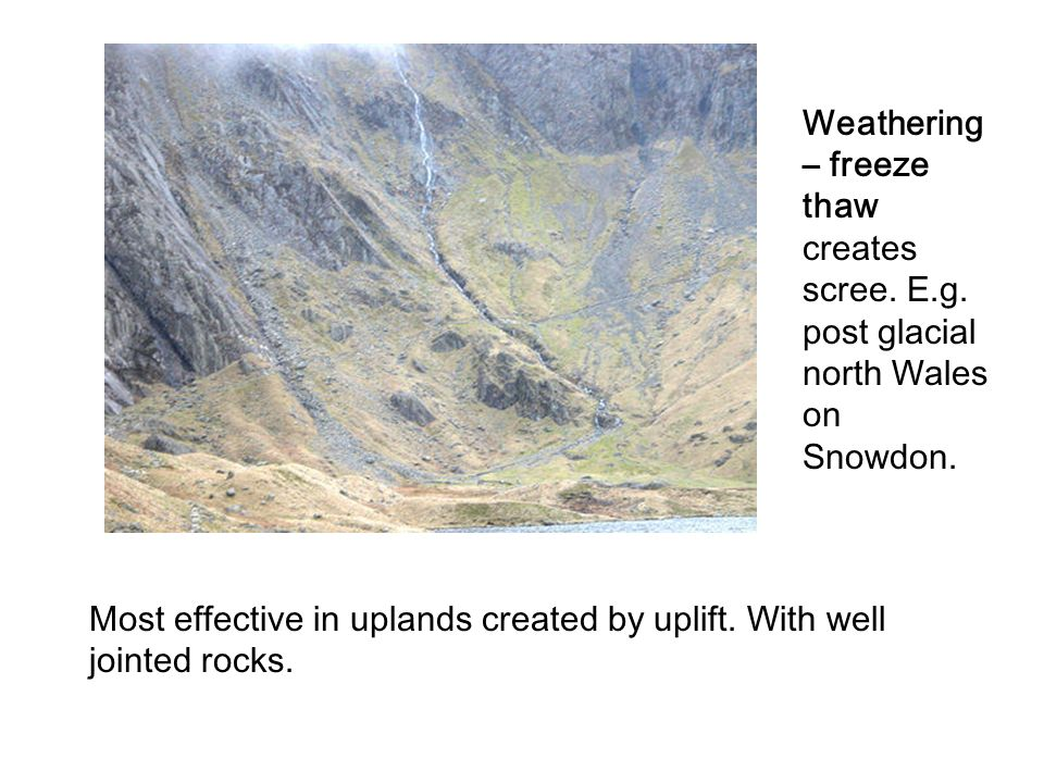 Weathering – freeze thaw creates scree. E.g. post glacial north Wales on Snowdon. Most effective in uplands created by uplift. With well jointed rocks