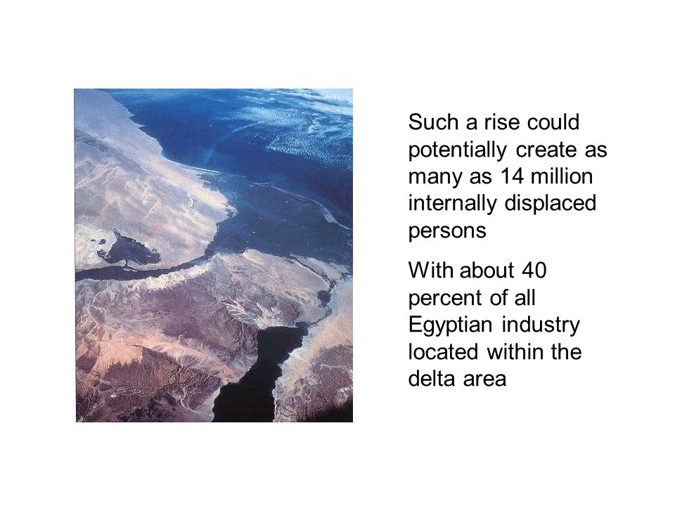 Such a rise could potentially create as many as 14 million internally displaced persons With about 40 percent of all Egyptian industry located within