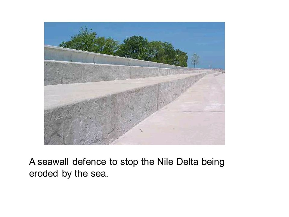 A seawall defence to stop the Nile Delta being eroded by the sea.