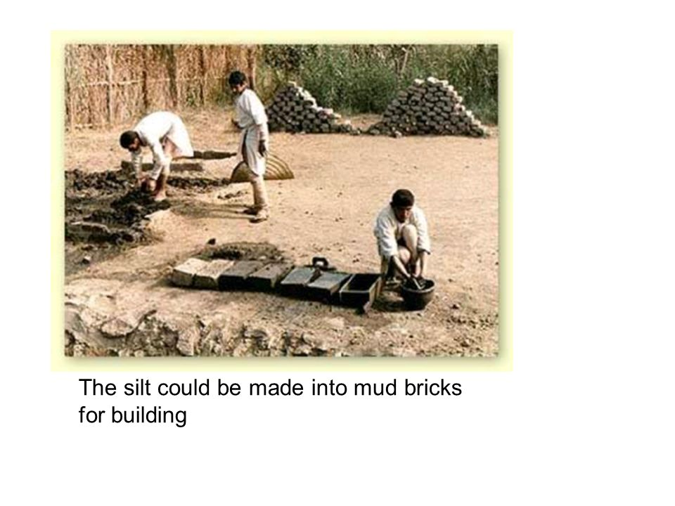 The silt could be made into mud bricks for building