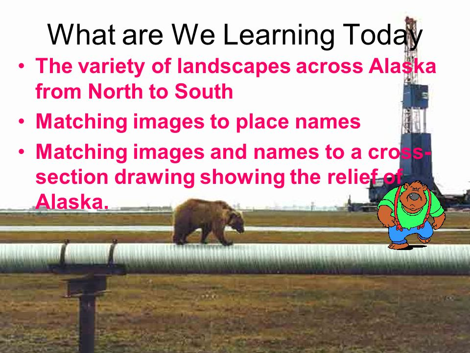 What are We Learning Today The variety of landscapes across Alaska from North to South Matching images to place names Matching images and names to a cross- section drawing showing the relief of Alaska.