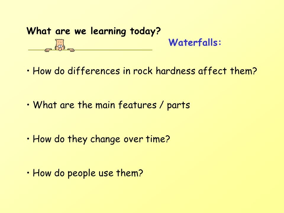 What are we learning today? Waterfalls: How do differences in rock hardness affect them? What are the main features / parts How do they change over ti
