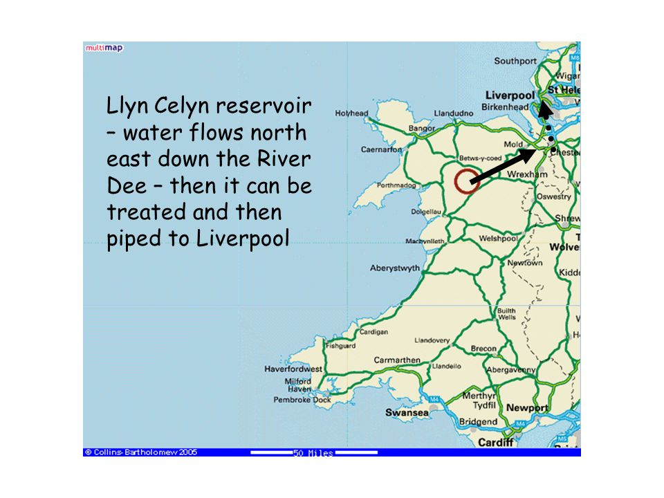 Llyn Celyn reservoir – water flows north east down the River Dee – then it can be treated and then piped to Liverpool