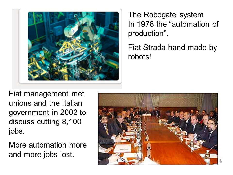 The Robogate system In 1978 the automation of production. Fiat Strada hand made by robots! Fiat management met unions and the Italian government in 20