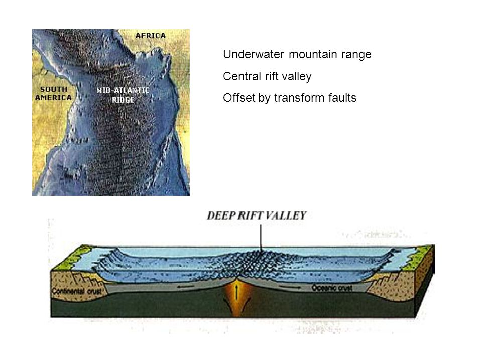 Underwater mountain range Central rift valley Offset by transform faults