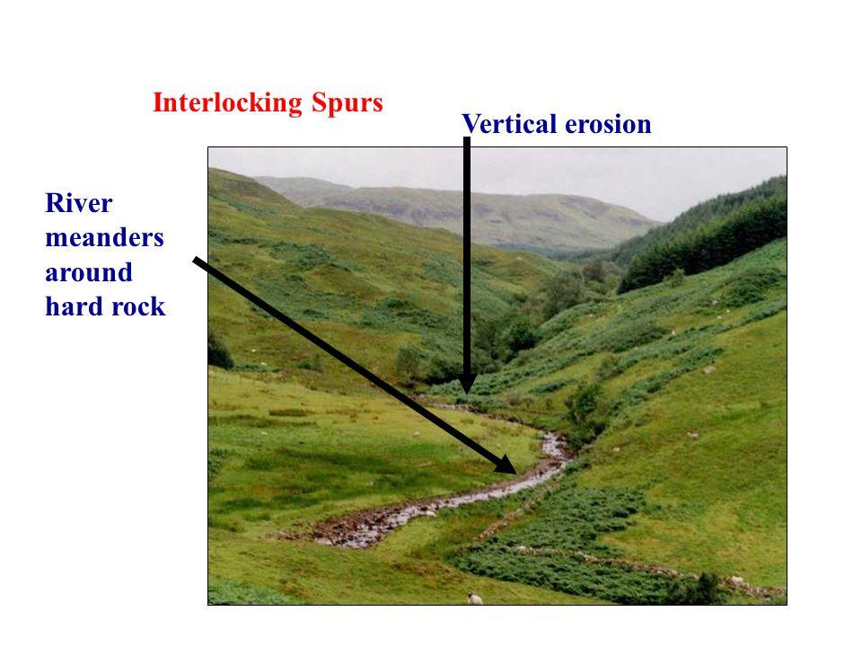 Interlocking Spurs Vertical erosion River meanders around hard rock