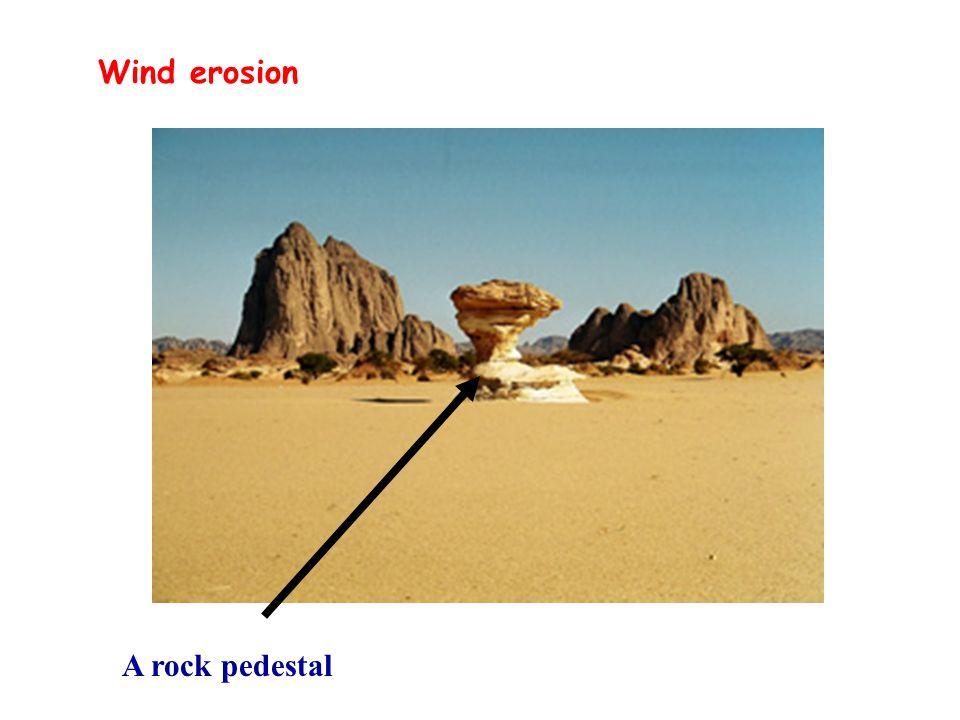 Wind erosion A rock pedestal