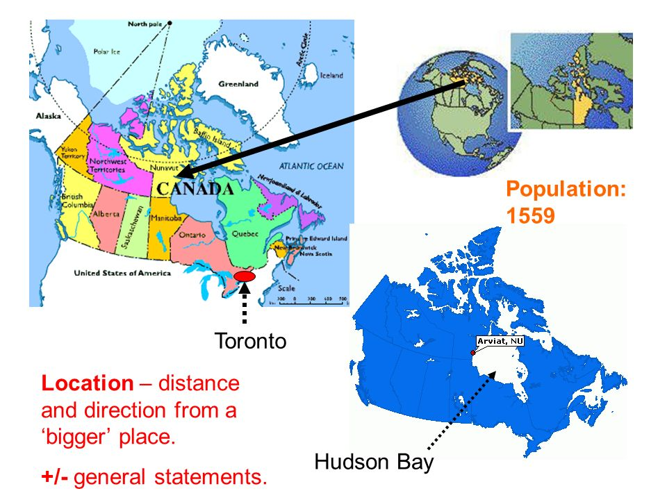 Population: 1559 Hudson Bay Toronto Location – distance and direction from a bigger place.