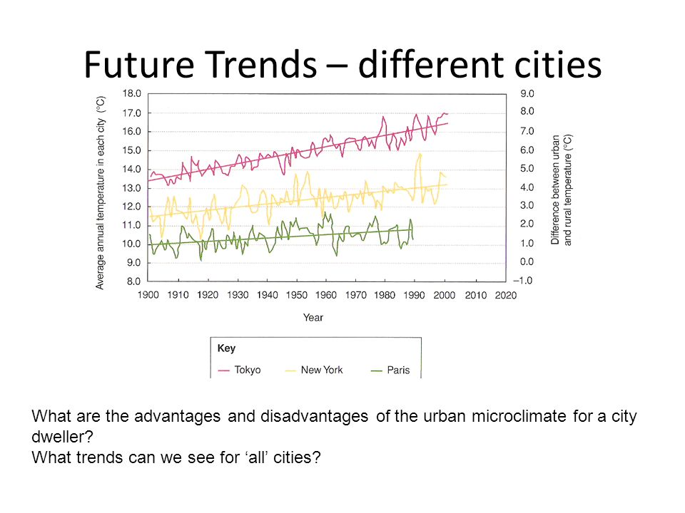 Future Trends – different cities What are the advantages and disadvantages of the urban microclimate for a city dweller.