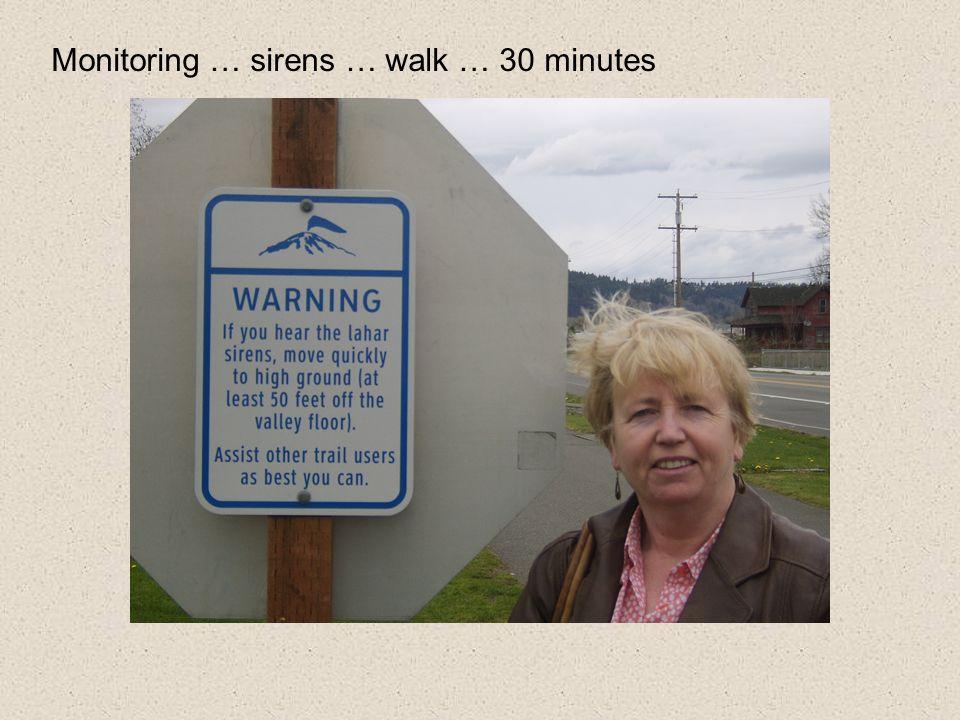 Monitoring … sirens … walk … 30 minutes