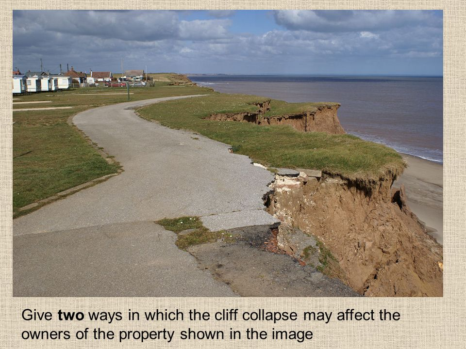 Give two ways in which the cliff collapse may affect the owners of the property shown in the image