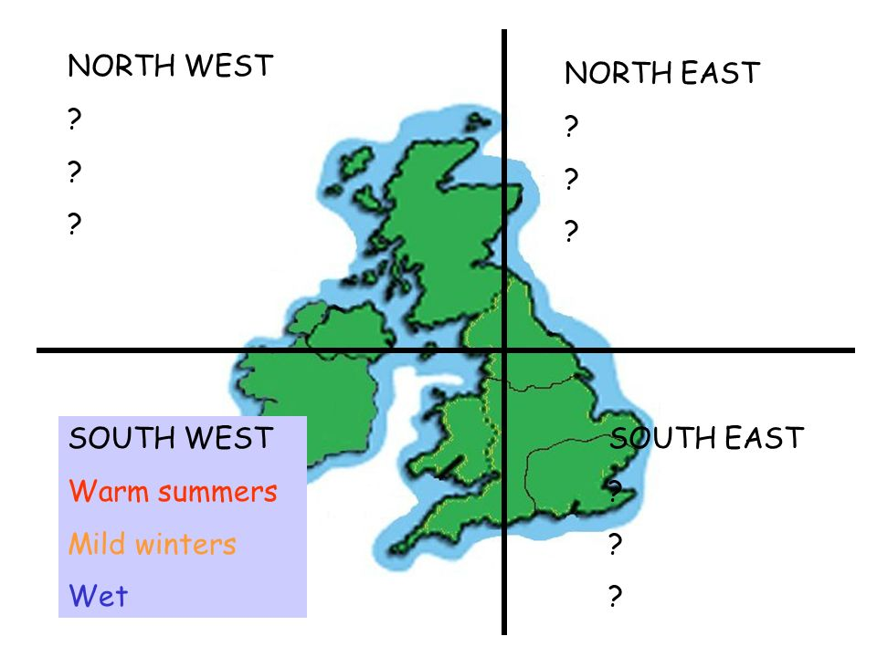 SOUTH WEST Warm summers Mild winters Wet NORTH EAST ? ? ? NORTH WEST ? ? ? SOUTH EAST ? ? ?