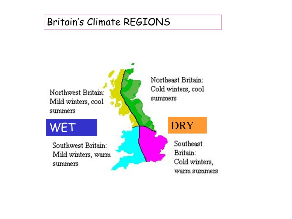 Britains Climate REGIONS WET DRY