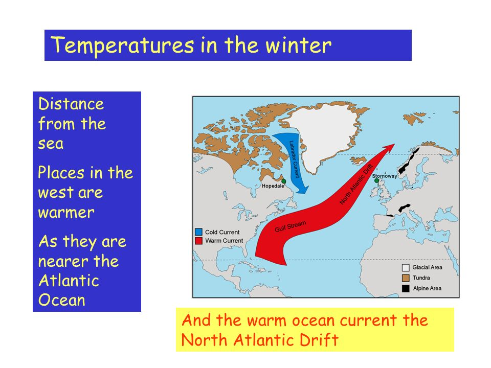 Temperatures in the winter Distance from the sea Places in the west are warmer As they are nearer the Atlantic Ocean And the warm ocean current the North Atlantic Drift