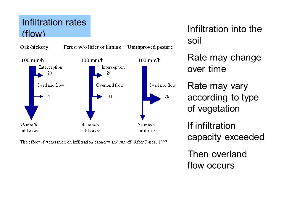 Infiltration rates (flow) Infiltration into the soil Rate may change over time Rate may vary according to type of vegetation If infiltration capacity