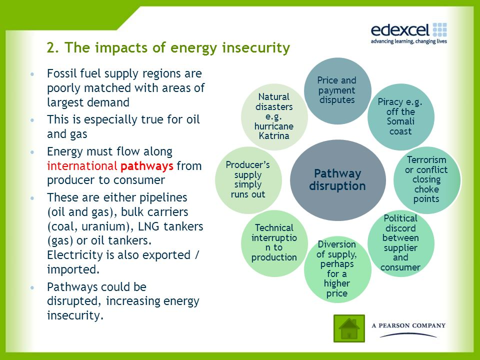 2. The impacts of energy insecurity Fossil fuel supply regions are poorly matched with areas of largest demand This is especially true for oil and gas