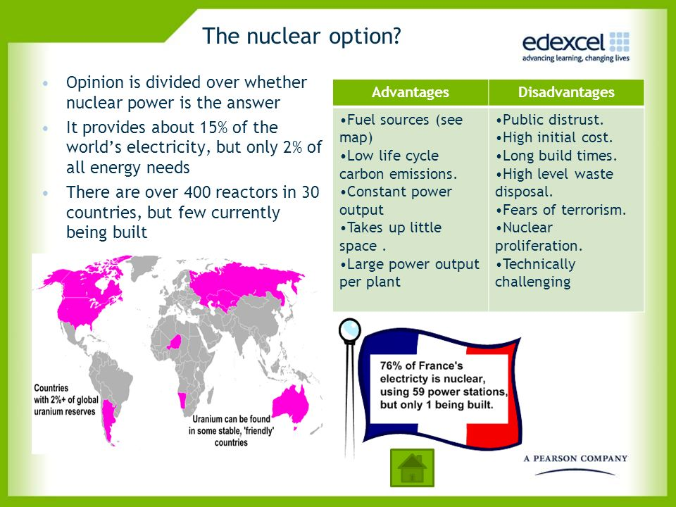 The nuclear option? Opinion is divided over whether nuclear power is the answer It provides about 15% of the worlds electricity, but only 2% of all en