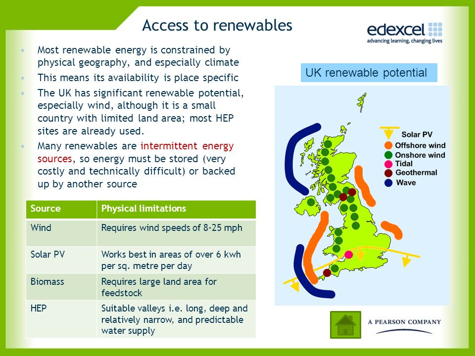Access to renewables Most renewable energy is constrained by physical geography, and especially climate This means its availability is place specific