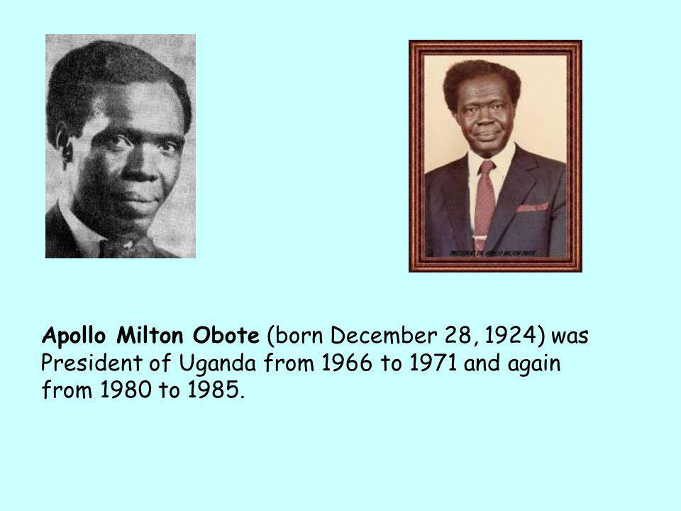 1966 Leader of the ruling party, the Uganda People's Congress, Milton Obote wrote a new constitution for the country. constitution Under the new const