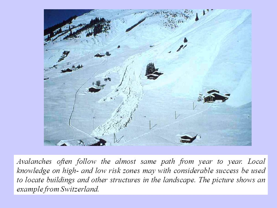 Avalanches often follow the almost same path from year to year. Local knowledge on high- and low risk zones may with considerable success be used to l