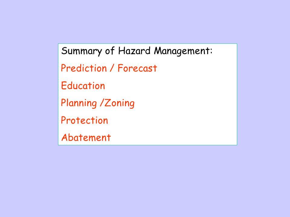 Summary of Hazard Management: Prediction / Forecast Education Planning /Zoning Protection Abatement