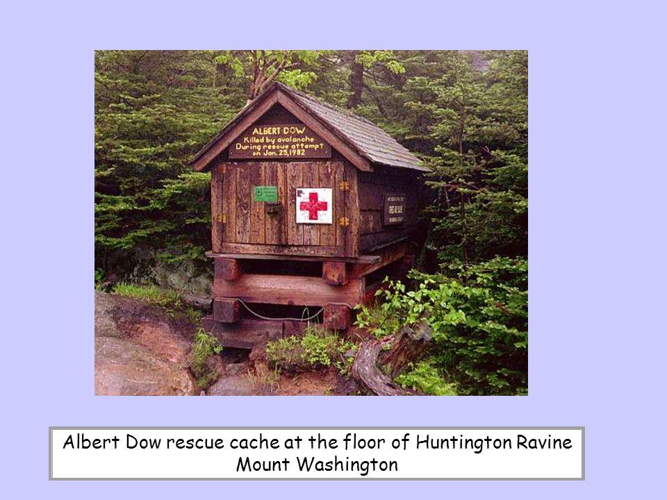 Albert Dow rescue cache at the floor of Huntington Ravine Mount Washington