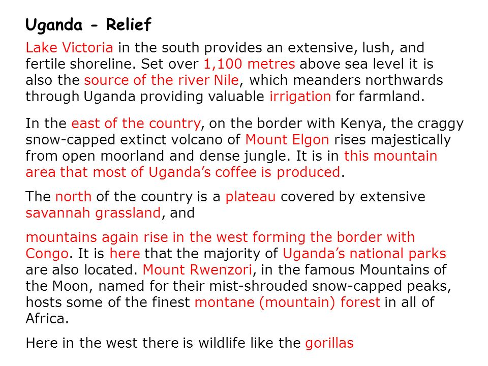 It is nearly all Highland = brown Very high Mount Elgon A bit lower Uganda – Relief (Height)