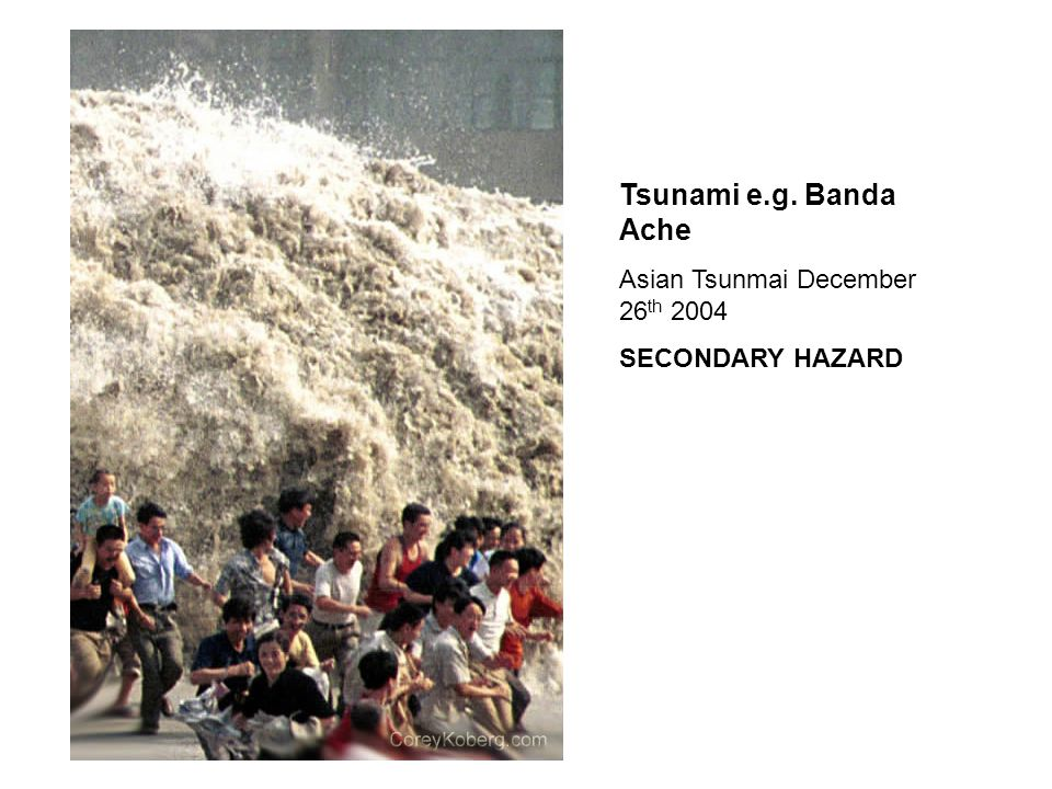 Tsunami e.g. Banda Ache Asian Tsunmai December 26 th 2004 SECONDARY HAZARD