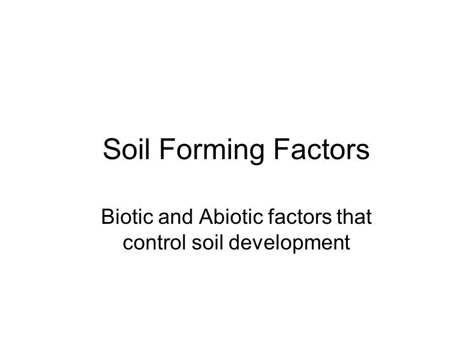 Soil Forming Factors Biotic and Abiotic factors that control soil development