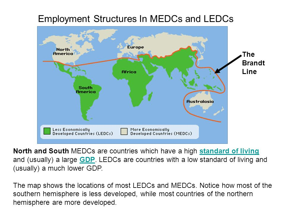 Employment Structures In MEDCs and LEDCs North and South MEDCs are countries which have a high standard of living and (usually) a large GDP. LEDCs are