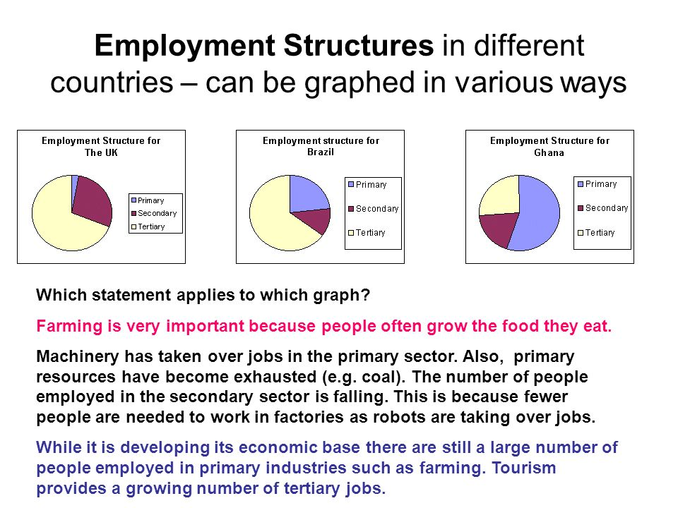Employment Structures in different countries – can be graphed in various ways Which statement applies to which graph? Farming is very important becaus