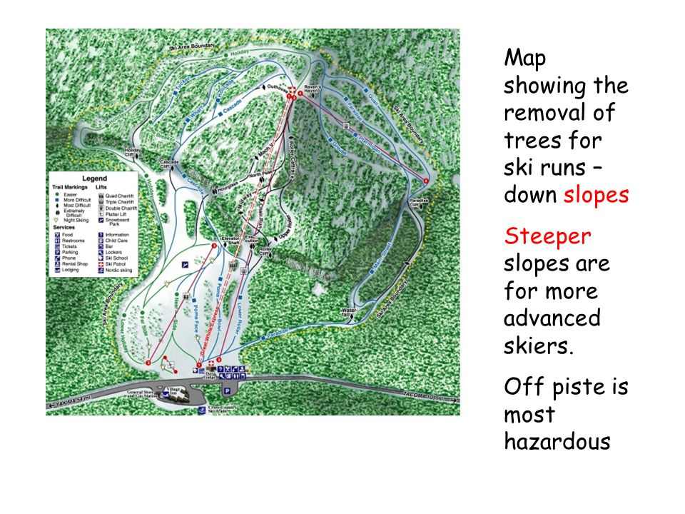 The visual impact of ski runs on the landscape – some tree removal.