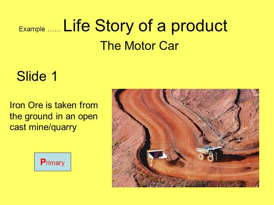 Example …… Life Story of a product The Motor Car Iron Ore is taken from the ground in an open cast mine/quarry P rimary Slide 1