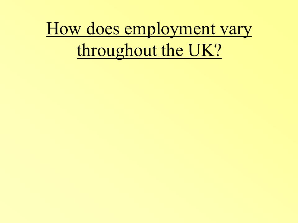 How does employment vary throughout the UK?