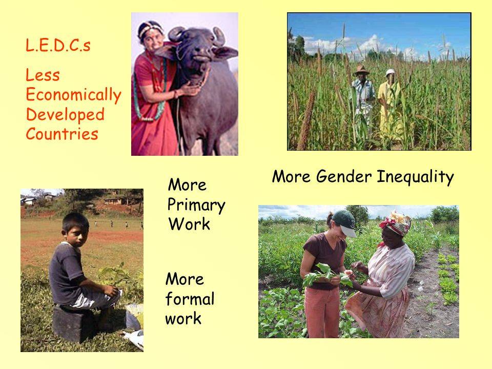 M.E.D.C.s More Economically Developed Countries More Tertiary Work More Gender Equality More formal work