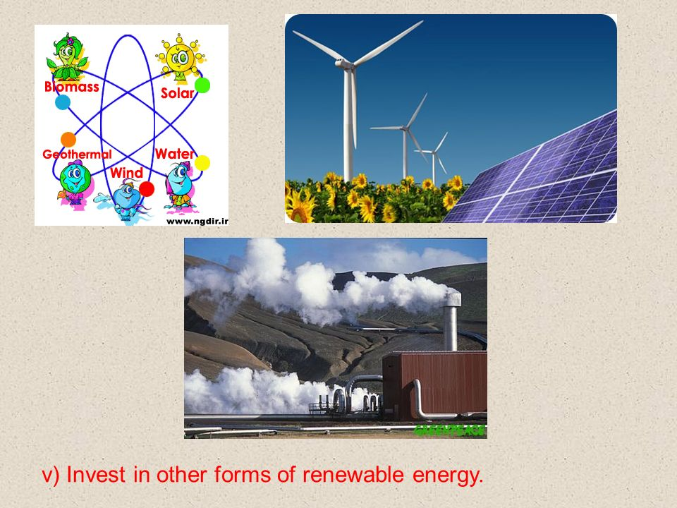 v) Invest in other forms of renewable energy.
