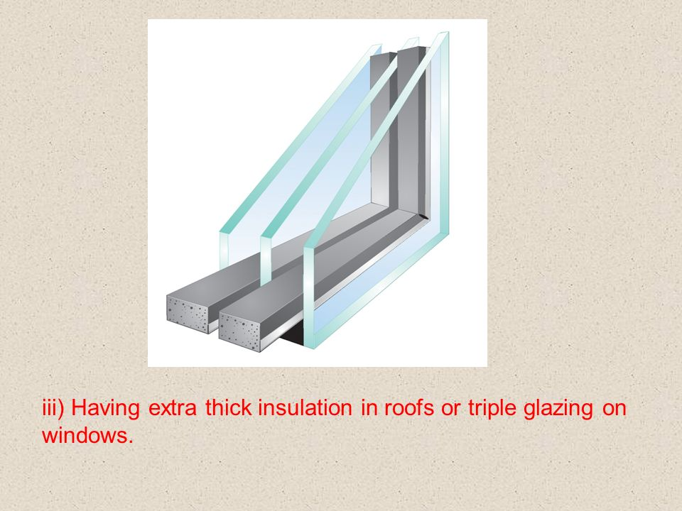 iii) Having extra thick insulation in roofs or triple glazing on windows.