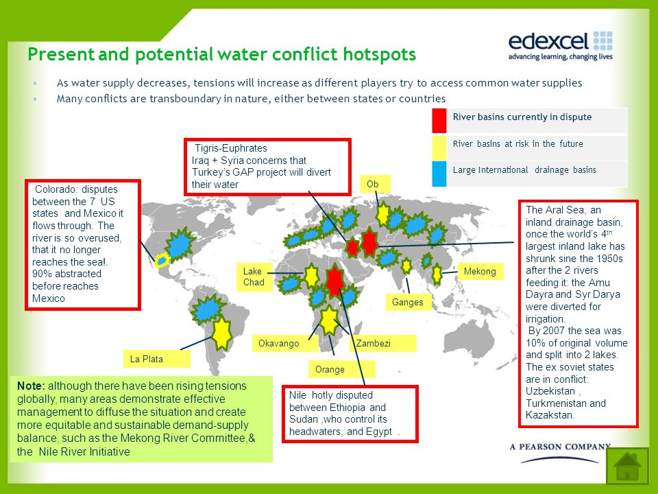 Present and potential water conflict hotspots As water supply decreases, tensions will increase as different players try to access common water suppli