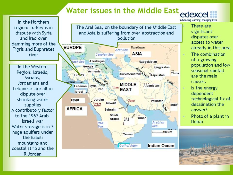 Water issues in the Middle East There are significant disputes over access to water already in this area The combination of a growing population and l