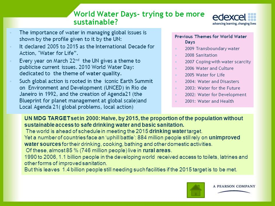 World Water Days- trying to be more sustainable? The importance of water in managing global issues is shown by the profile given to it by the UN: It d