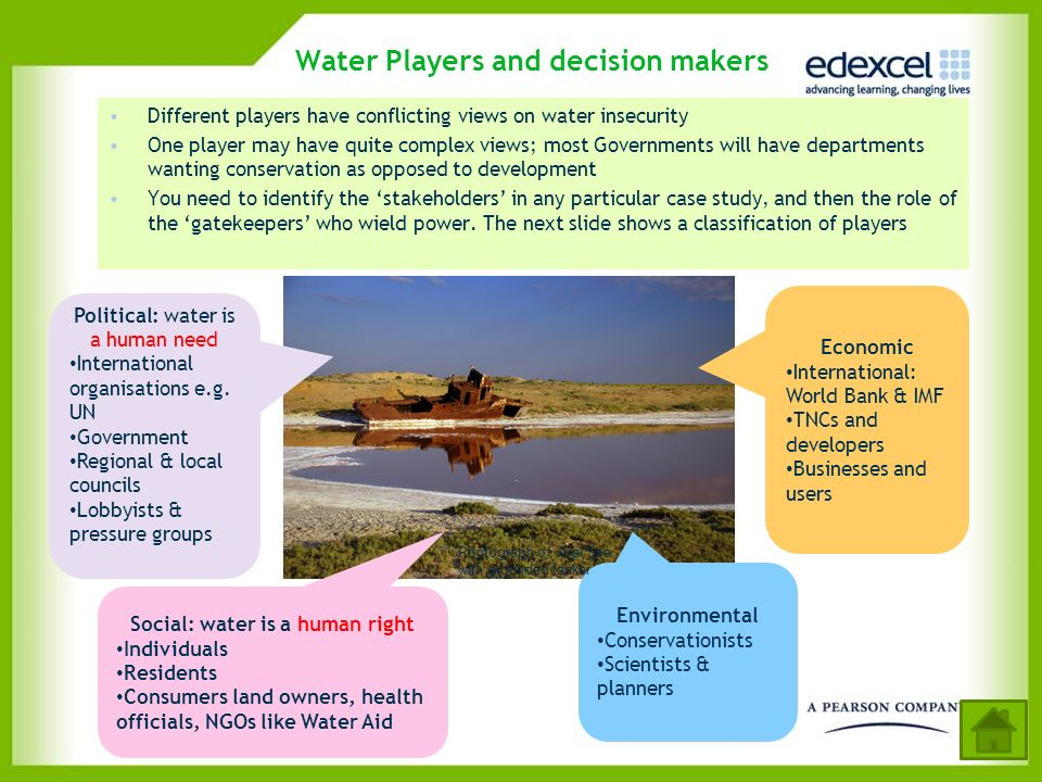 Water Players and decision makers Different players have conflicting views on water insecurity One player may have quite complex views; most Governmen