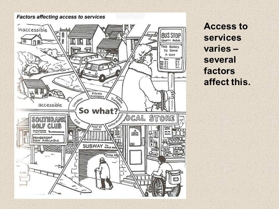 Access to services varies – several factors affect this.