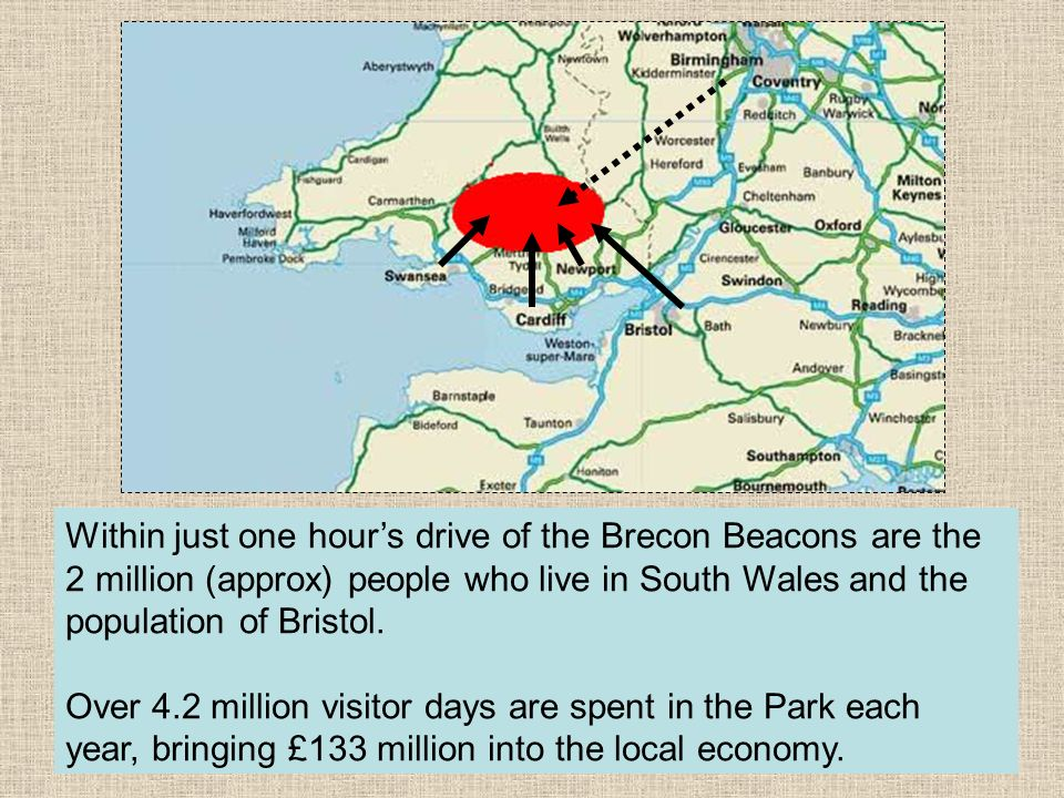 Within just one hours drive of the Brecon Beacons are the 2 million (approx) people who live in South Wales and the population of Bristol. Over 4.2 mi