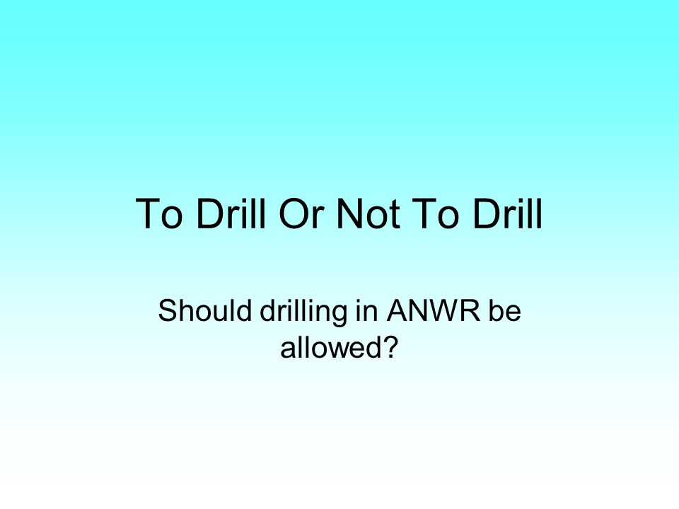 To Drill Or Not To Drill Should drilling in ANWR be allowed?
