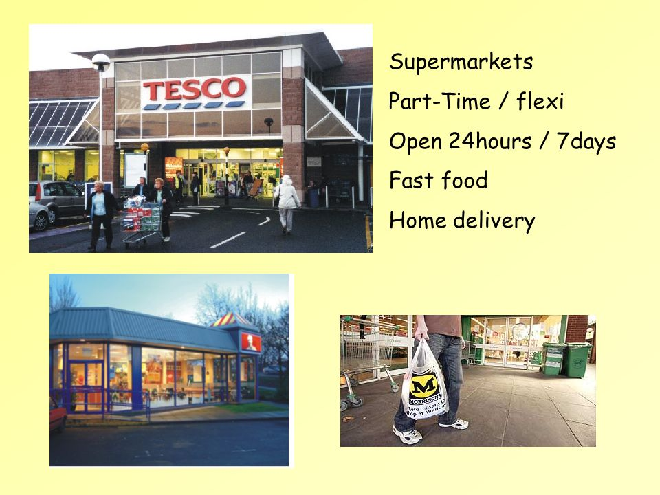 Supermarkets Part-Time / flexi Open 24hours / 7days Fast food Home delivery