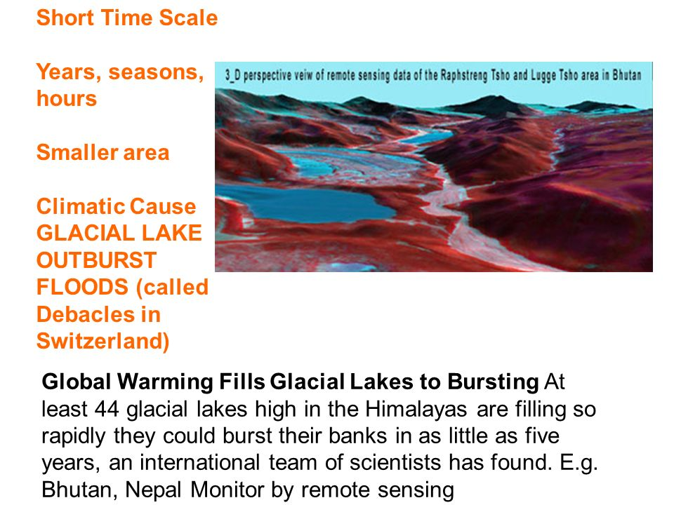 Global Warming Fills Glacial Lakes to Bursting At least 44 glacial lakes high in the Himalayas are filling so rapidly they could burst their banks in as little as five years, an international team of scientists has found.