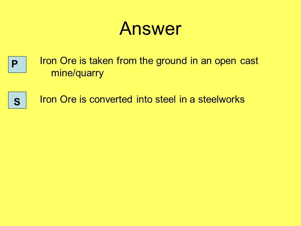 Answer Iron Ore is taken from the ground in an open cast mine/quarry Iron Ore is converted into steel in a steelworks P S