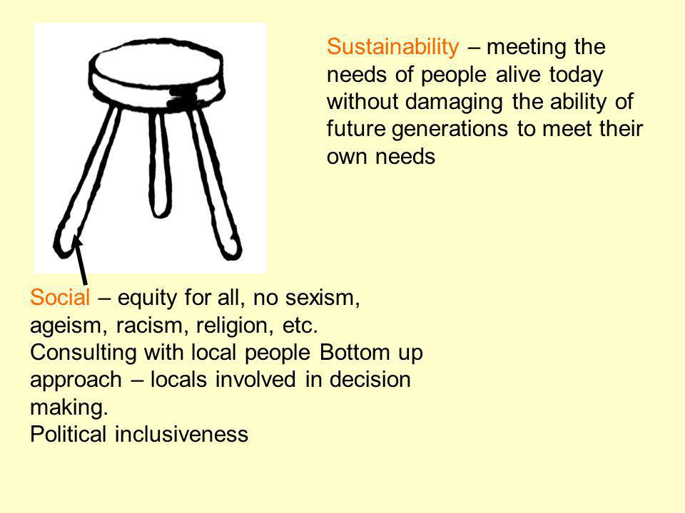 Social – equity for all, no sexism, ageism, racism, religion, etc. Consulting with local people Bottom up approach – locals involved in decision makin
