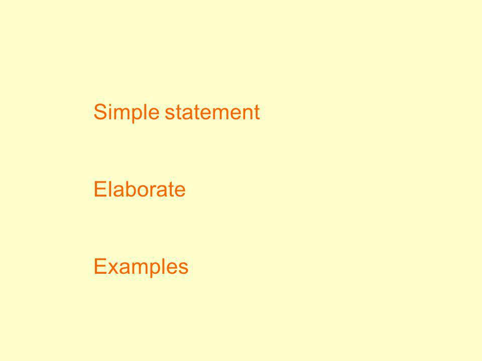 Simple statement Elaborate Examples